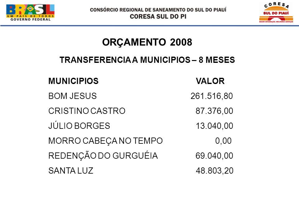ORÇAMENTO 2008 MUNICIPIOS VALOR BOM JESUS 261.516,80 CRISTINO CASTRO 87.376,00 JÚLIO BORGES 13.040,00 MORRO CABEÇA NO TEMPO 0,00 REDENÇÃO DO GURGUÉIA 69.040,00 SANTA LUZ 48.803,20 TRANSFERENCIA A MUNICIPIOS – 8 MESES