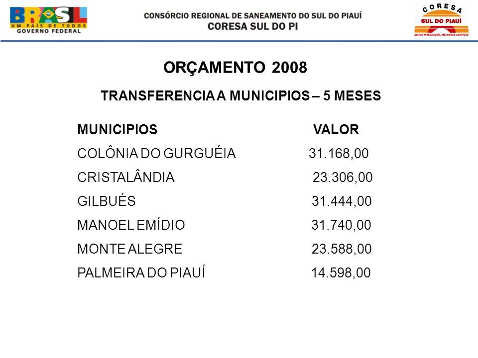 ORÇAMENTO 2008 MUNICIPIOS VALOR COLÔNIA DO GURGUÉIA 31.168,00 CRISTALÂNDIA 23.306,00 GILBUÉS 31.444,00 MANOEL EMÍDIO 31.740,00 MONTE ALEGRE 23.588,00 PALMEIRA DO PIAUÍ 14.598,00 TRANSFERENCIA A MUNICIPIOS – 5 MESES