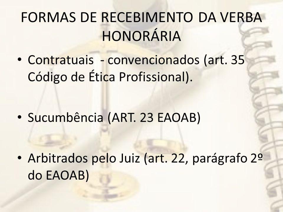 FORMAS DE RECEBIMENTO DA VERBA HONORÁRIA Contratuais - convencionados (art.