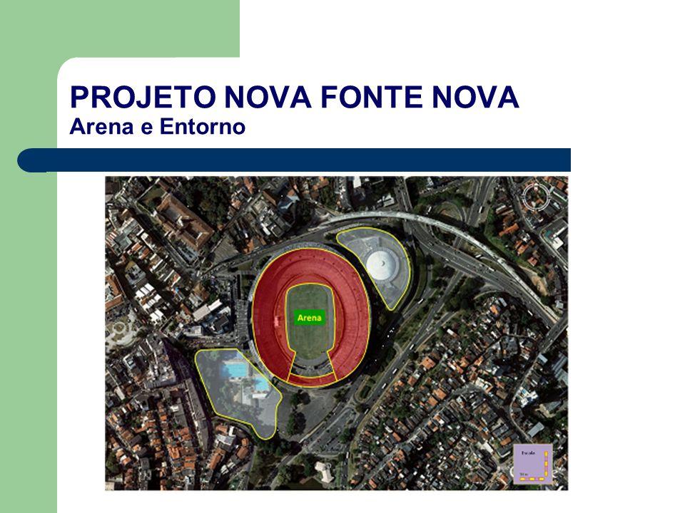 PROJETO NOVA FONTE NOVA Características da Arena Concessão Administrativa (PPP) para a reconstrução e operação da Arena: – Capacidade para 50 mil pessoas (50 mil lugares fixos de acordo com os padrões da FIFA), sendo: – 46.500 assentos; – 2500 assentos VIPs; – 1000 assentos em 50 Camarotes, 8 com 67 m² e 42 com 33 m².