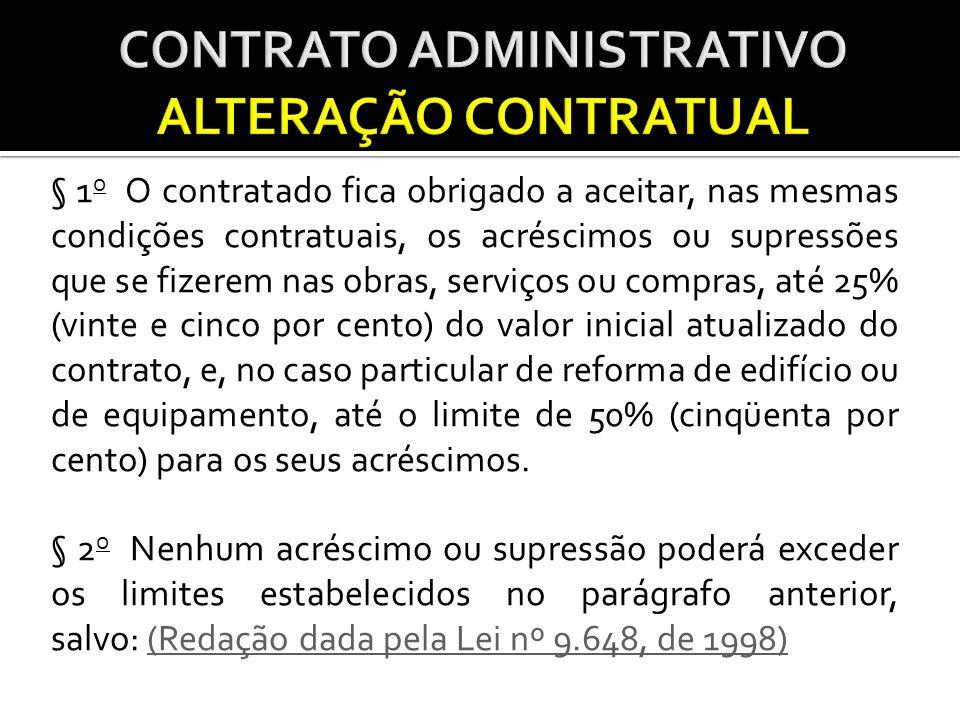 § 1 o O contratado fica obrigado a aceitar, nas mesmas condições contratuais, os acréscimos ou supressões que se fizerem nas obras, serviços ou compra