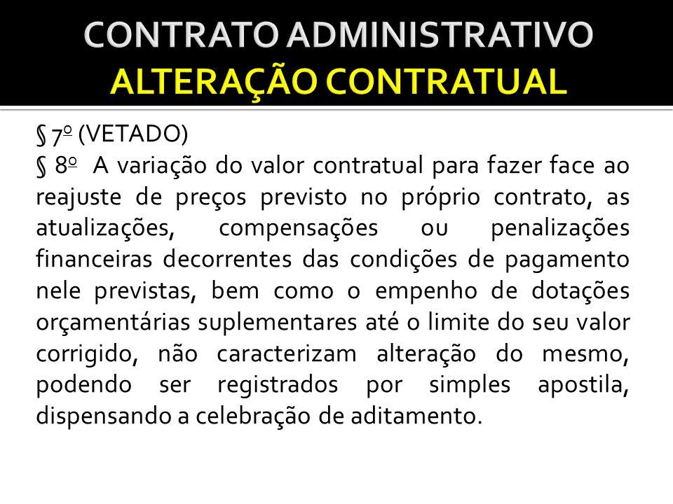 § 7 o (VETADO) § 8 o A variação do valor contratual para fazer face ao reajuste de preços previsto no próprio contrato, as atualizações, compensações