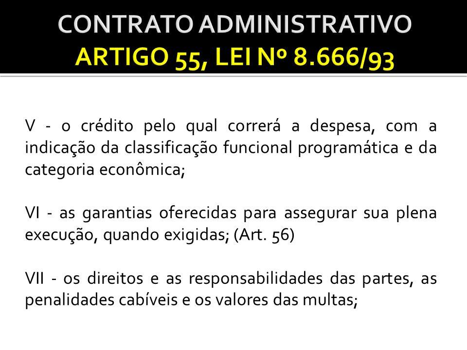 VIII - os casos de rescisão; IX - o reconhecimento dos direitos da Administração, em caso de rescisão administrativa prevista no art.