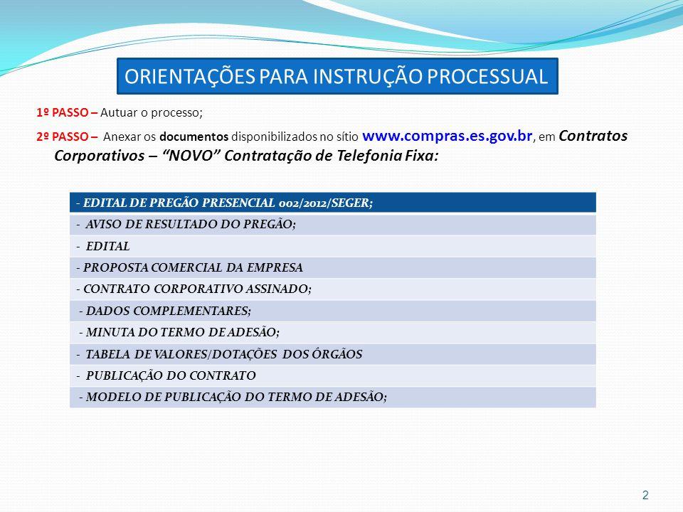 1º PASSO – Autuar o processo; 2º PASSO – Anexar os documentos disponibilizados no sítio www.compras.es.gov.br, em Contratos Corporativos – NOVO Contra