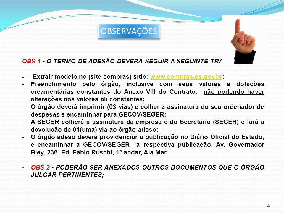 OBSERVAÇÕES OBS 1 - O TERMO DE ADESÃO DEVERÁ SEGUIR A SEGUINTE TRAMITAÇÃO: - Extrair modelo no (site compras) sítio: www.compras.es.gov.br;www.compras