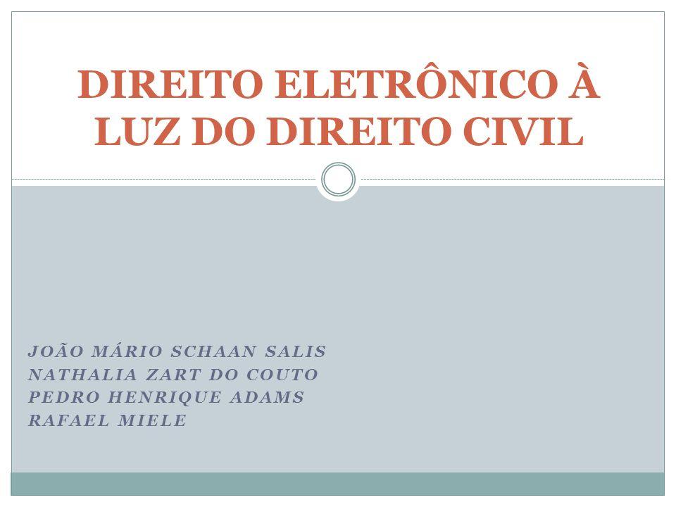 JOÃO MÁRIO SCHAAN SALIS NATHALIA ZART DO COUTO PEDRO HENRIQUE ADAMS RAFAEL MIELE DIREITO ELETRÔNICO À LUZ DO DIREITO CIVIL