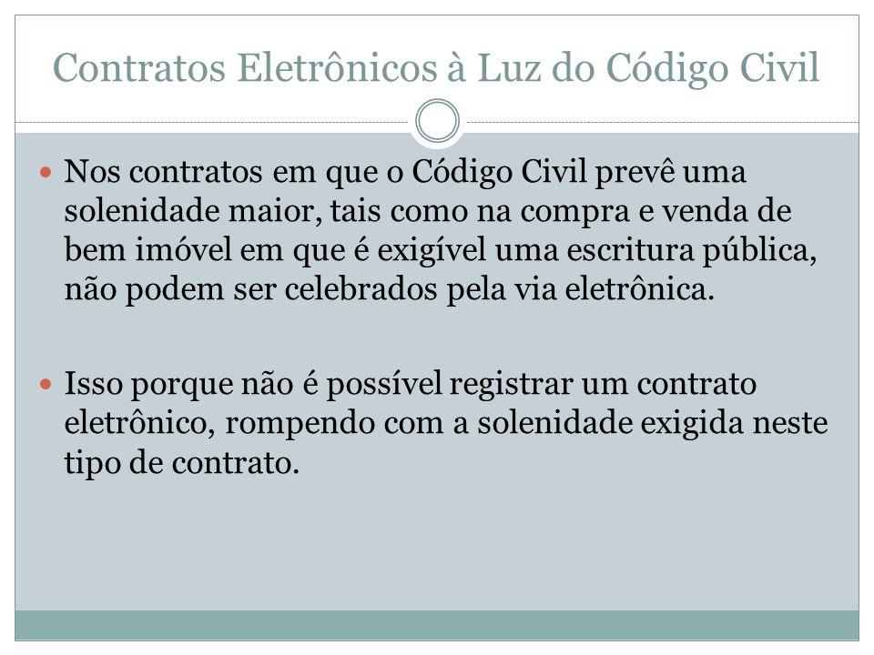 Contratos Eletrônicos à Luz do Código Civil Nos contratos em que o Código Civil prevê uma solenidade maior, tais como na compra e venda de bem imóvel