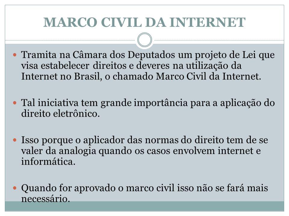 MARCO CIVIL DA INTERNET Tramita na Câmara dos Deputados um projeto de Lei que visa estabelecer direitos e deveres na utilização da Internet no Brasil,