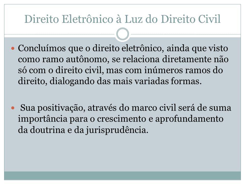 Direito Eletrônico à Luz do Direito Civil Concluímos que o direito eletrônico, ainda que visto como ramo autônomo, se relaciona diretamente não só com