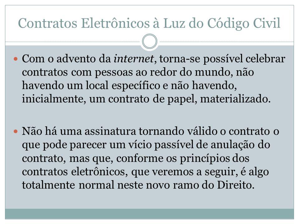 Contratos Eletrônicos à Luz do Código Civil Com o advento da internet, torna-se possível celebrar contratos com pessoas ao redor do mundo, não havendo