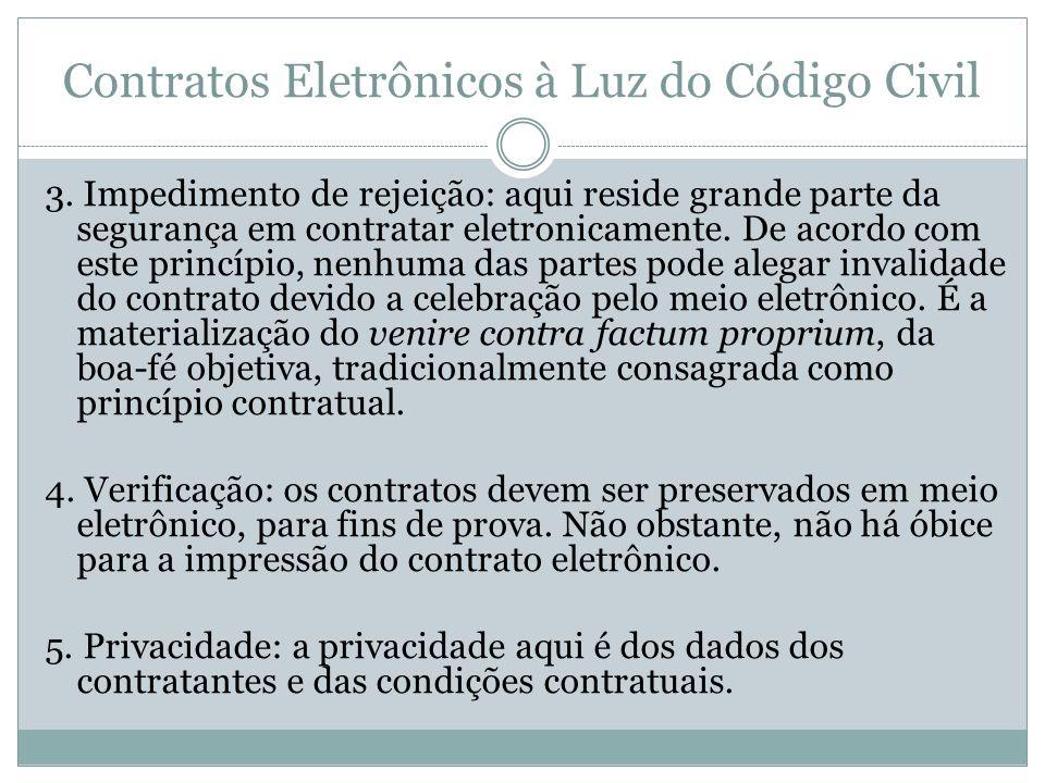 Contratos Eletrônicos à Luz do Código Civil 3. Impedimento de rejeição: aqui reside grande parte da segurança em contratar eletronicamente. De acordo