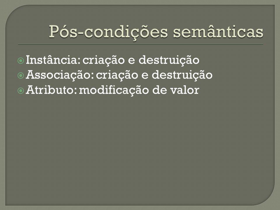 Instância: criação e destruição Associação: criação e destruição Atributo: modificação de valor