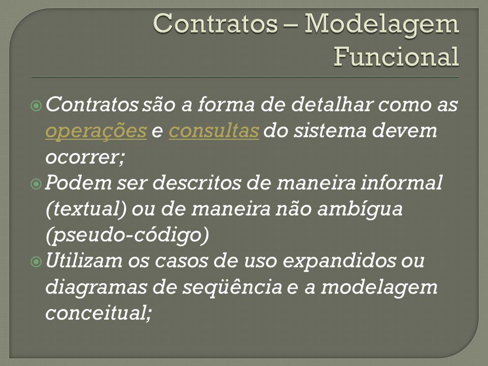Contratos são a forma de detalhar como as operações e consultas do sistema devem ocorrer; Podem ser descritos de maneira informal (textual) ou de mane