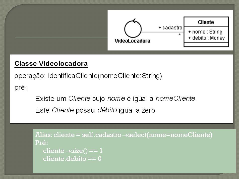 Operação: identificaCliente(nome:String) Alias: cliente = self.cadastro select(nome=nomeCliente) Pré: - Exceções: Nome invalido se cliente size == 0 Cliente com debito se cliente.debito != 0
