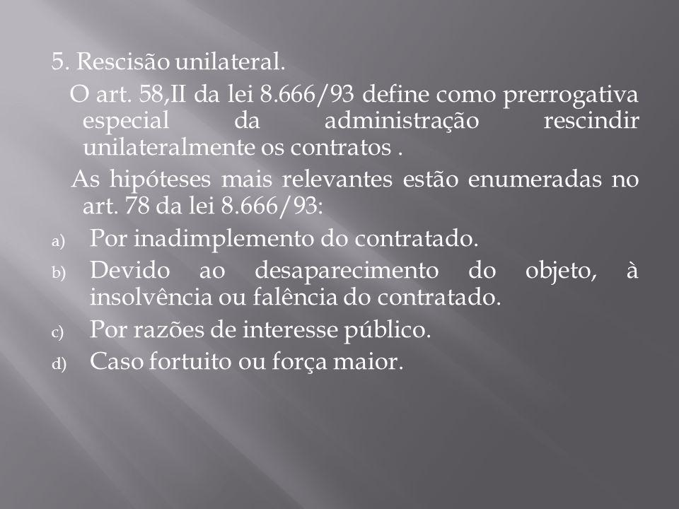 5.Rescisão unilateral. O art.