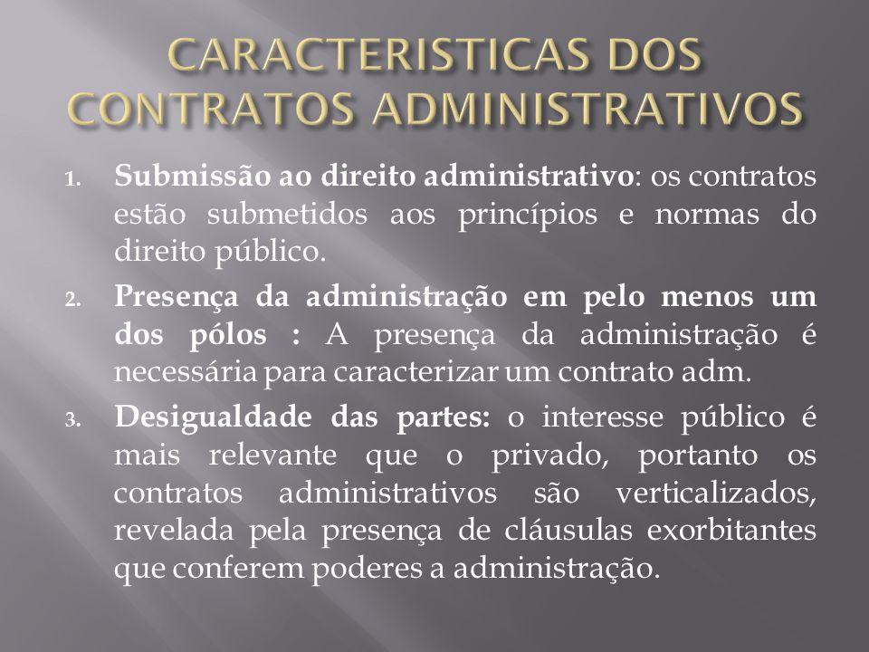 1. Submissão ao direito administrativo : os contratos estão submetidos aos princípios e normas do direito público. 2. Presença da administração em pel