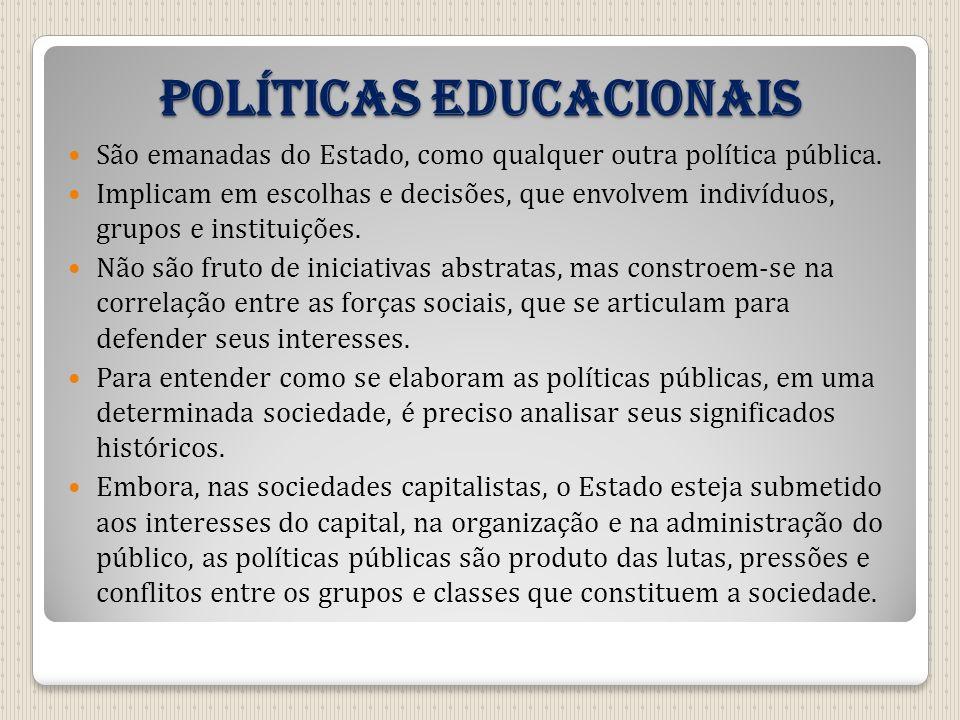 Políticas educacionais São emanadas do Estado, como qualquer outra política pública. Implicam em escolhas e decisões, que envolvem indivíduos, grupos