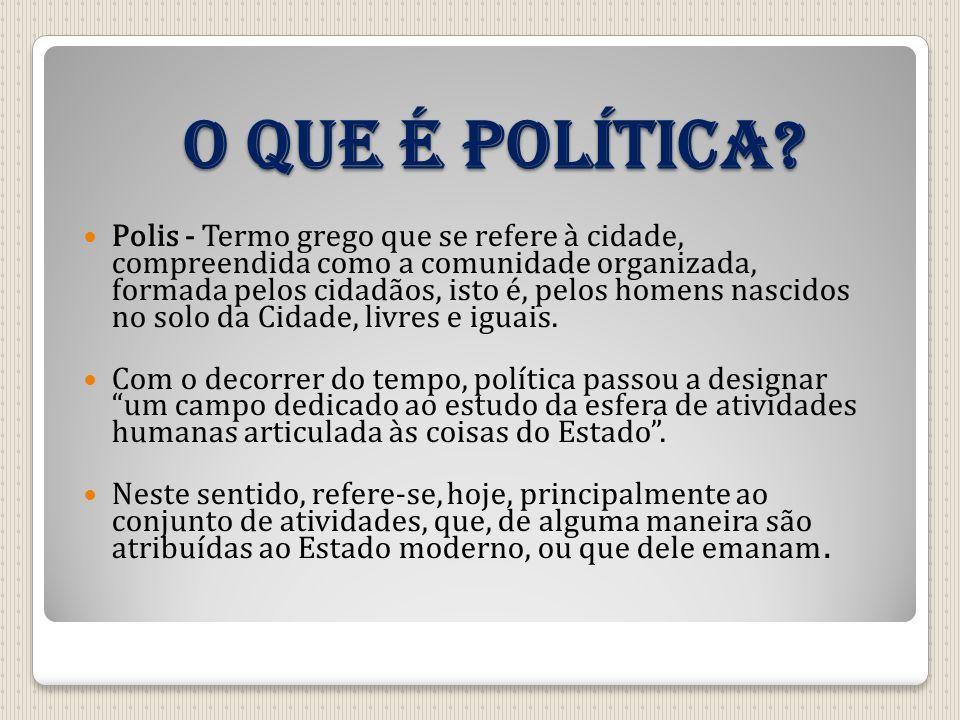 O que é política? Polis - Termo grego que se refere à cidade, compreendida como a comunidade organizada, formada pelos cidadãos, isto é, pelos homens