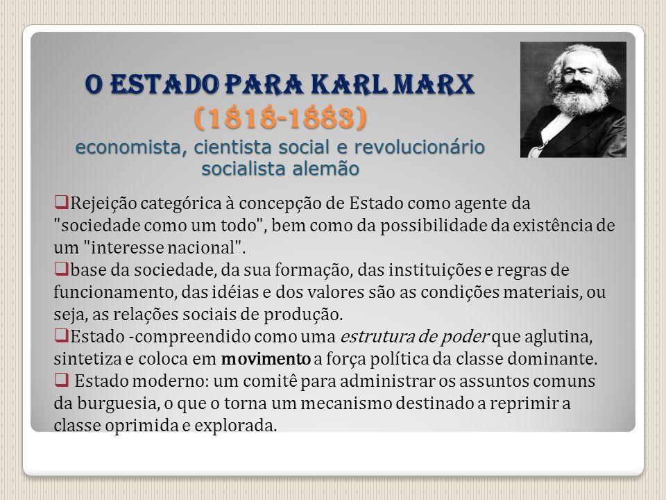 O Estado para Karl Marx (1818-1883) economista, cientista social e revolucionário socialista alemão Rejeição categórica à concepção de Estado como age