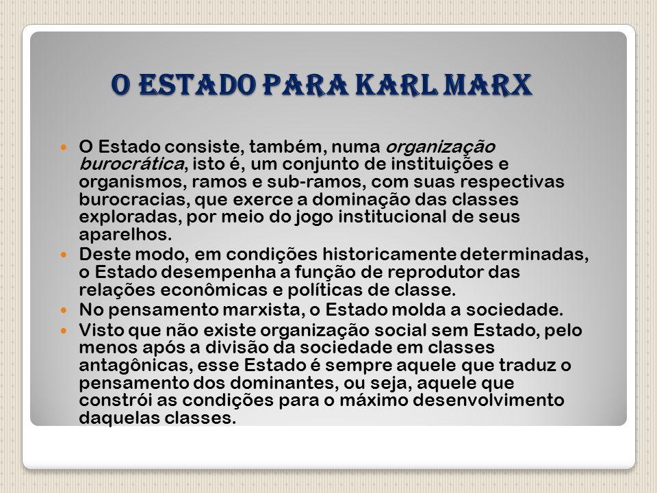 O Estado para Karl Marx O Estado consiste, também, numa organização burocrática, isto é, um conjunto de instituições e organismos, ramos e sub-ramos,