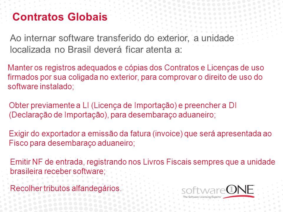 Contratos Globais Ao internar software transferido do exterior, a unidade localizada no Brasil deverá ficar atenta a: Manter os registros adequados e