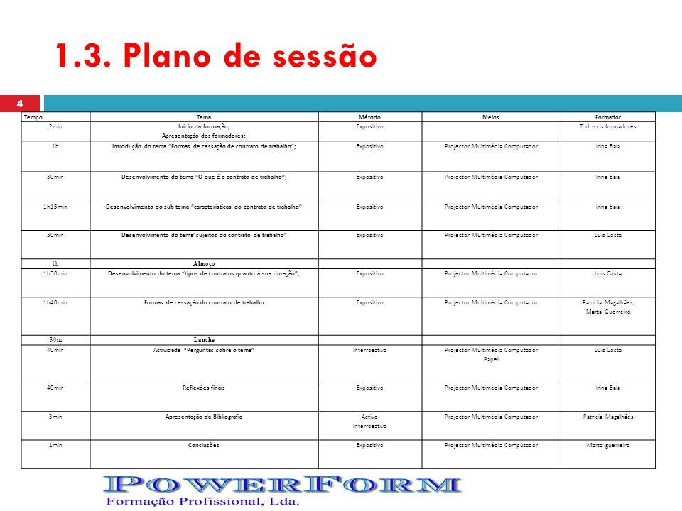 1.3. Plano de sessão TempoTemaMétodoMeiosFormador 2min Inicio da formação; Apresentação dos formadores; ExpositivoTodos os formadores 1hIntrodução do
