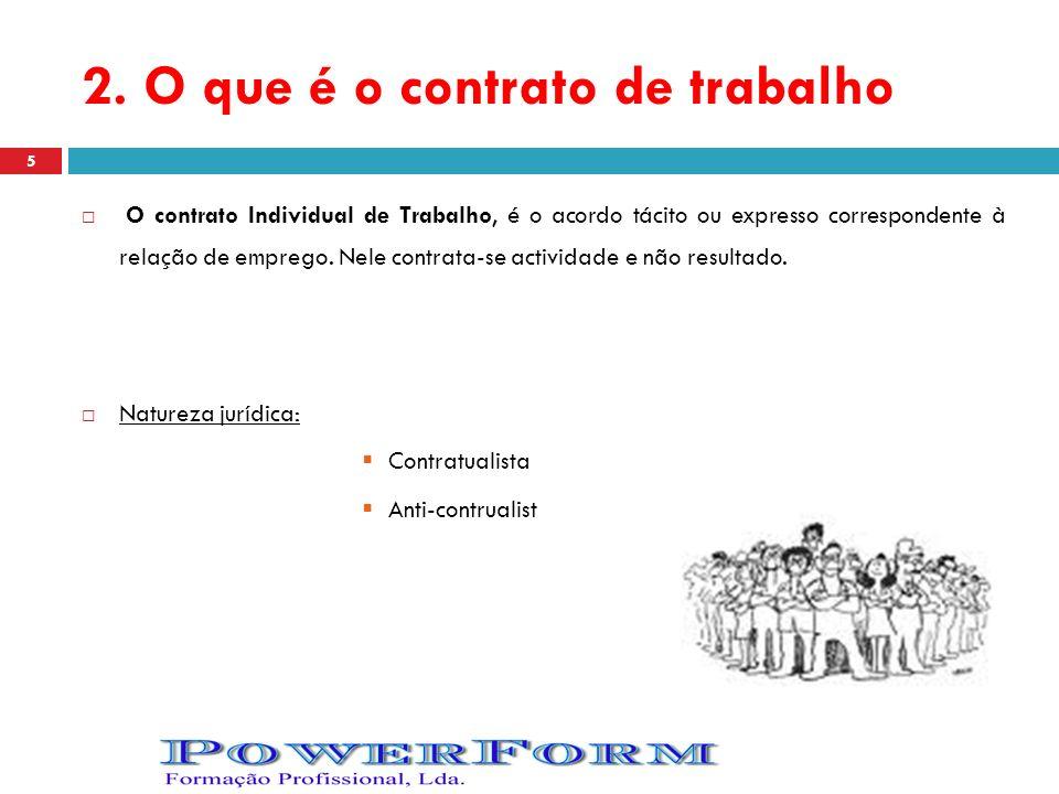 2. O que é o contrato de trabalho O contrato Individual de Trabalho, é o acordo tácito ou expresso correspondente à relação de emprego. Nele contrata-