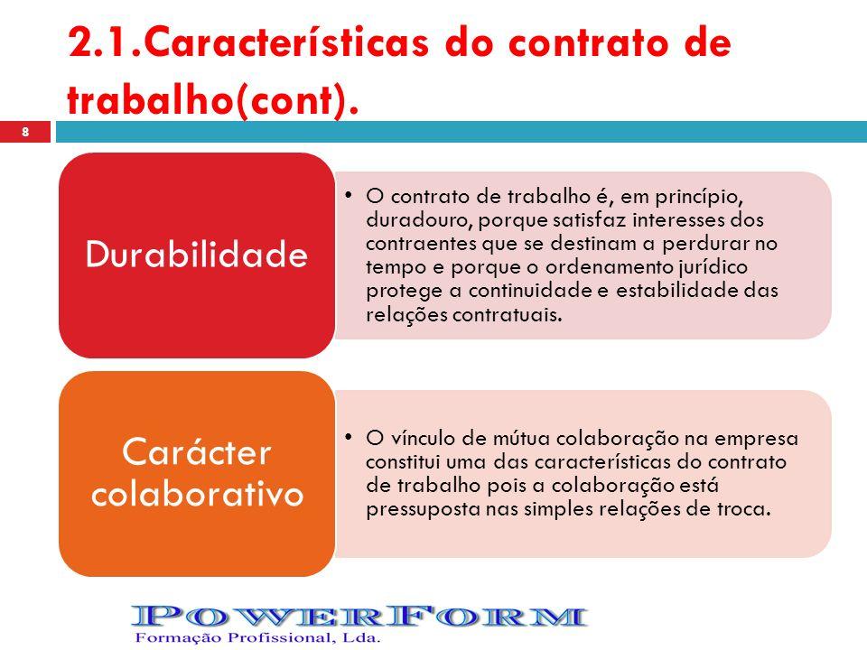 2.1.Características do contrato de trabalho(cont). O contrato de trabalho é, em princípio, duradouro, porque satisfaz interesses dos contraentes que s