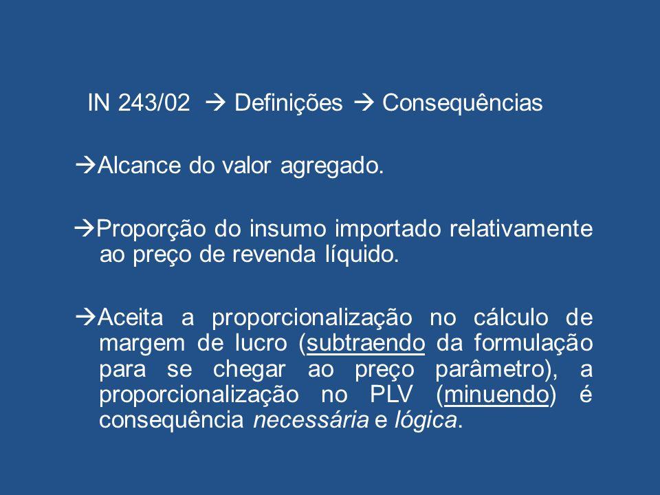IN 243/02 Definições Consequências Alcance do valor agregado. Proporção do insumo importado relativamente ao preço de revenda líquido. Aceita a propor