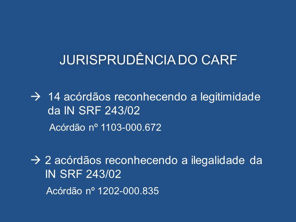 JURISPRUDÊNCIA DO CARF 14 acórdãos reconhecendo a legitimidade da IN SRF 243/02 Acórdão nº 1103-000.672 2 acórdãos reconhecendo a ilegalidade da IN SR