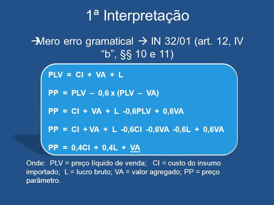 1ª Interpretação Mero erro gramatical IN 32/01 (art. 12, IV b, §§ 10 e 11) Onde: PLV = preço líquido de venda; CI = custo do insumo importado; L = luc
