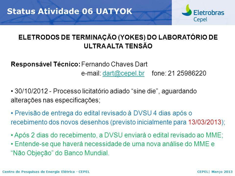 Centro de Pesquisas de Energia Elétrica - CEPELCEPEL| Março 2013 Status Atividade 06 UATYOK ELETRODOS DE TERMINAÇÃO (YOKES) DO LABORATÓRIO DE ULTRA ALTA TENSÃO Responsável Técnico:Fernando Chaves Dart e-mail: dart@cepel.brfone: 21 25986220dart@cepel.br 30/10/2012 - Processo licitatório adiado sine die, aguardando alterações nas especificações; Previsão de entrega do edital revisado à DVSU 4 dias após o recebimento dos novos desenhos (previsto inicialmente para 13/03/2013); Após 2 dias do recebimento, a DVSU enviará o edital revisado ao MME; Entende-se que haverá necessidade de uma nova análise do MME e Não Objeção do Banco Mundial.