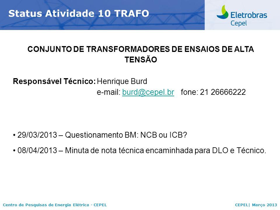 Centro de Pesquisas de Energia Elétrica - CEPELCEPEL| Março 2013 Status Atividade 10 TRAFO CONJUNTO DE TRANSFORMADORES DE ENSAIOS DE ALTA TENSÃO Responsável Técnico:Henrique Burd e-mail: burd@cepel.brfone: 21 26666222burd@cepel.br 29/03/2013 – Questionamento BM: NCB ou ICB.