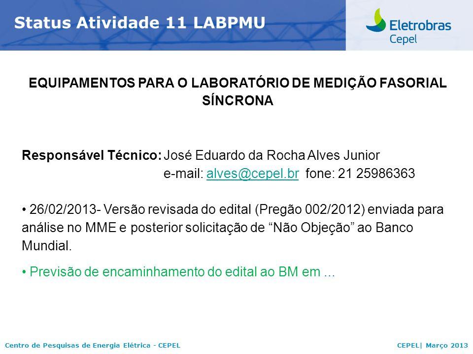 Centro de Pesquisas de Energia Elétrica - CEPELCEPEL| Março 2013 Status Atividade 11 LABPMU EQUIPAMENTOS PARA O LABORATÓRIO DE MEDIÇÃO FASORIAL SÍNCRONA Responsável Técnico:José Eduardo da Rocha Alves Junior e-mail: alves@cepel.brfone: 21 25986363alves@cepel.br 26/02/2013- Versão revisada do edital (Pregão 002/2012) enviada para análise no MME e posterior solicitação de Não Objeção ao Banco Mundial.