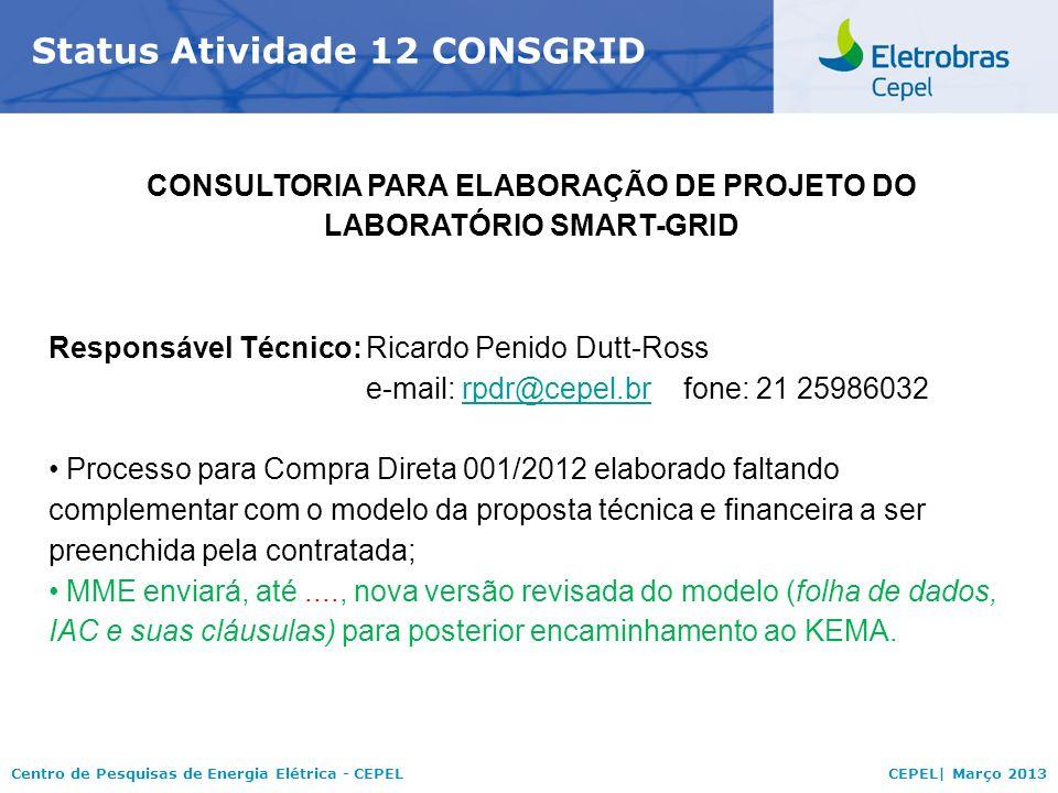 Centro de Pesquisas de Energia Elétrica - CEPELCEPEL| Março 2013 Status Atividade 12 CONSGRID CONSULTORIA PARA ELABORAÇÃO DE PROJETO DO LABORATÓRIO SMART-GRID Responsável Técnico:Ricardo Penido Dutt-Ross e-mail: rpdr@cepel.brfone: 21 25986032rpdr@cepel.br Processo para Compra Direta 001/2012 elaborado faltando complementar com o modelo da proposta técnica e financeira a ser preenchida pela contratada; MME enviará, até...., nova versão revisada do modelo (folha de dados, IAC e suas cláusulas) para posterior encaminhamento ao KEMA.