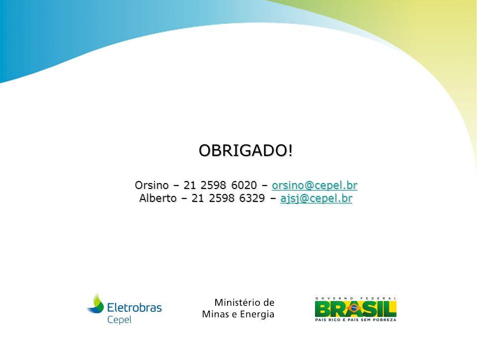 Centro de Pesquisas de Energia Elétrica - CEPELCEPEL| Março 2013 OBRIGADO! Orsino – 21 2598 6020 – orsino@cepel.br orsino@cepel.br Alberto – 21 2598 6