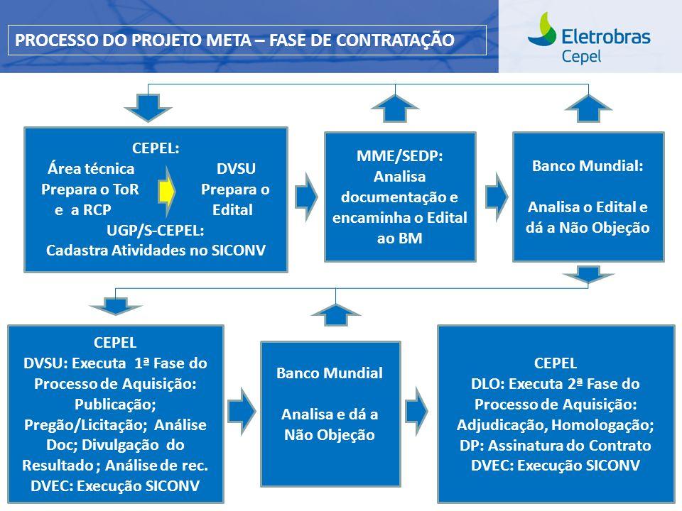 Centro de Pesquisas de Energia Elétrica - CEPELCEPEL| Março 2013 CEPEL: Área técnica DVSU. Prepara o ToR Prepara o e a RCP Edital. UGP/S-CEPEL: Cadast