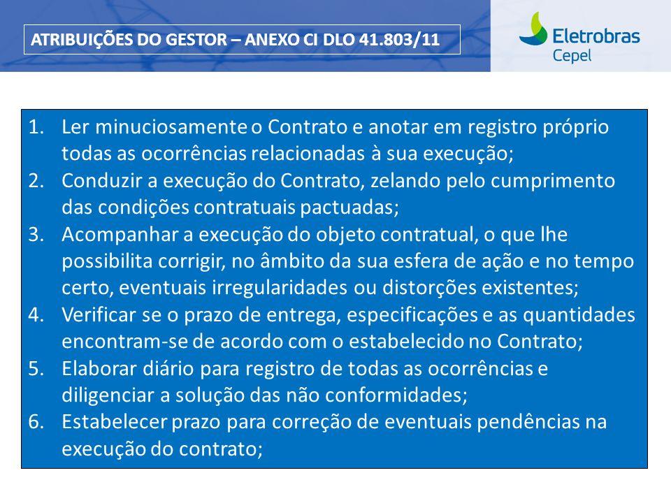 Centro de Pesquisas de Energia Elétrica - CEPELCEPEL| Março 2013 1.Ler minuciosamente o Contrato e anotar em registro próprio todas as ocorrências rel