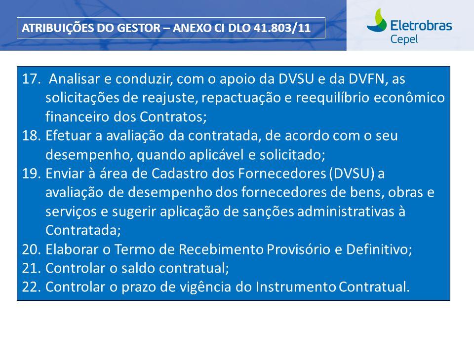 Centro de Pesquisas de Energia Elétrica - CEPELCEPEL| Março 2013 17. Analisar e conduzir, com o apoio da DVSU e da DVFN, as solicitações de reajuste,