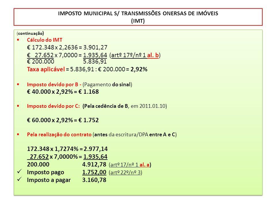 IMPOSTO MUNICIPAL S/ TRANSMISSÕES ONERSAS DE IMÓVEIS (IMT) (continuação ) Cálculo do IMT 172.348 x 2,2636 = 3.901,27 27.652 x 7,0000 = 1.935,64 (artº