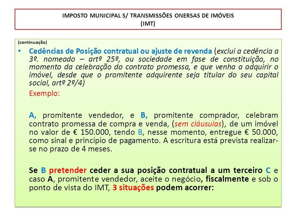 IMPOSTO MUNICIPAL S/ TRANSMISSÕES ONERSAS DE IMÓVEIS (IMT) (continuação) Cedências de Posição contratual ou ajuste de revenda ( exclui a cedência a 3º
