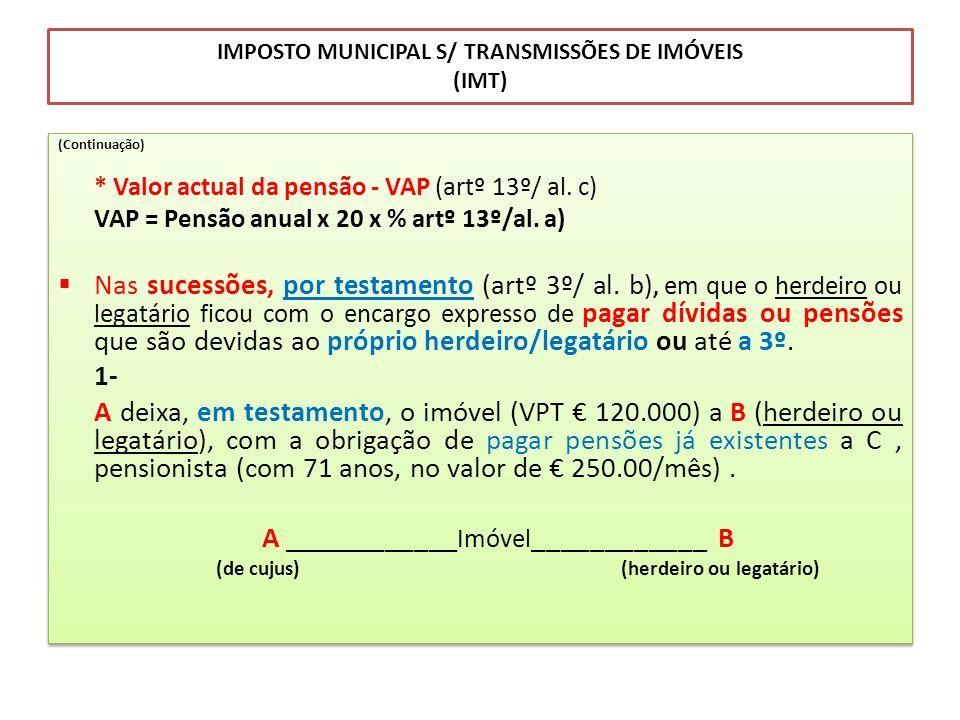 IMPOSTO MUNICIPAL S/ TRANSMISSÕES DE IMÓVEIS (IMT) (Continuação) * Valor actual da pensão - VAP (artº 13º/ al. c) VAP = Pensão anual x 20 x % artº 13º