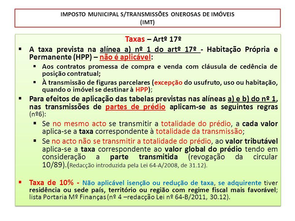IMPOSTO MUNICIPAL S/TRANSMISSÕES ONEROSAS DE IMÓVEIS (IMT) Taxas – Artº 17º A taxa prevista na alínea a) nº 1 do artº 17º - Habitação Própria e Perman