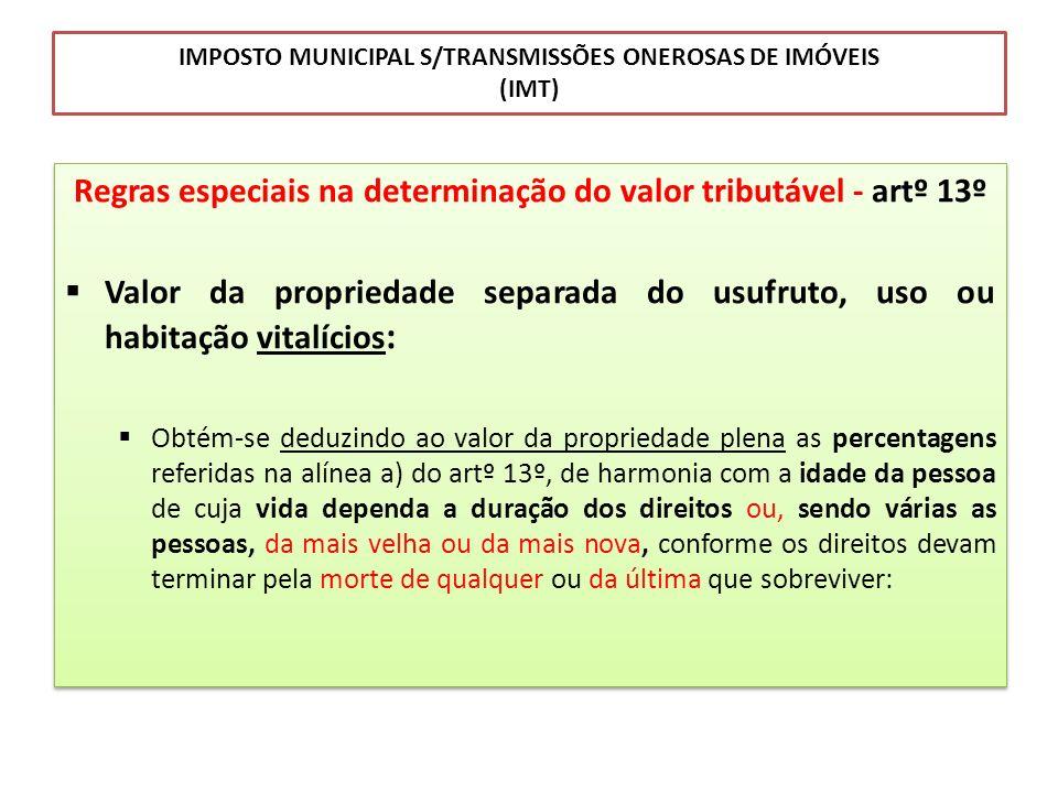 IMPOSTO MUNICIPAL S/TRANSMISSÕES ONEROSAS DE IMÓVEIS (IMT) Regras especiais na determinação do valor tributável - artº 13º Valor da propriedade separa