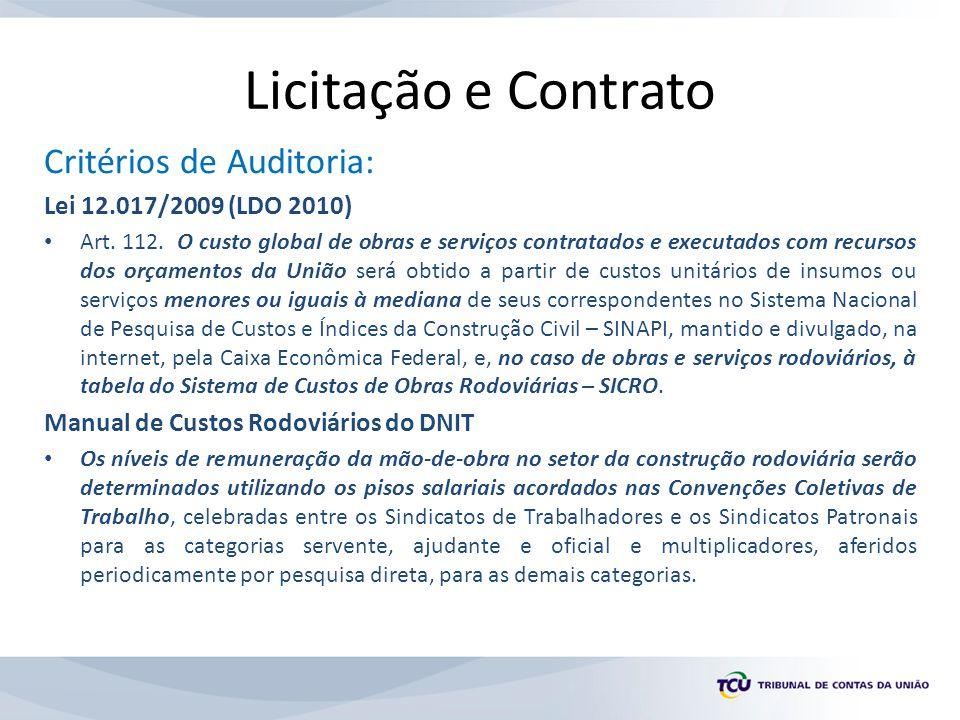 Licitação e Contrato Critérios de Auditoria: Lei 12.017/2009 (LDO 2010) Art. 112. O custo global de obras e serviços contratados e executados com recu