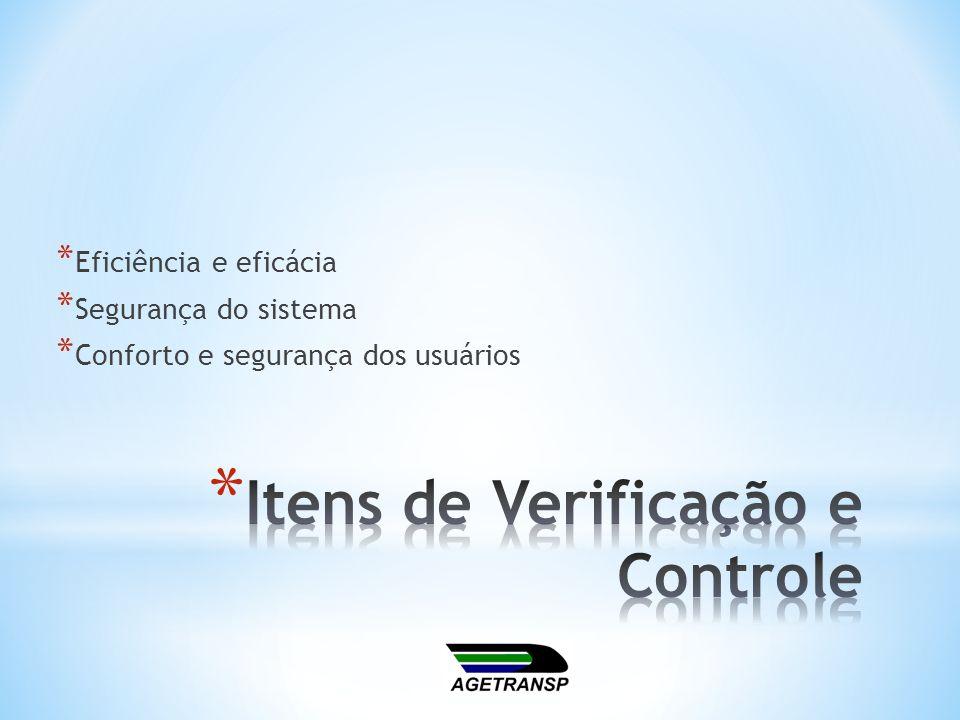 * Eficiência e eficácia * Segurança do sistema * Conforto e segurança dos usuários