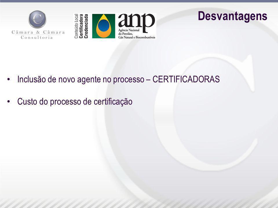 Desvantagens Inclusão de novo agente no processo – CERTIFICADORAS Custo do processo de certificação