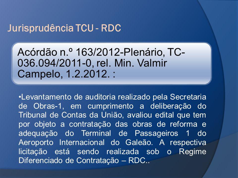 Jurisprudência TCU - RDC Acórdão n.º 163/2012-Plenário, TC- 036.094/2011-0, rel. Min. Valmir Campelo, 1.2.2012. : Levantamento de auditoria realizado