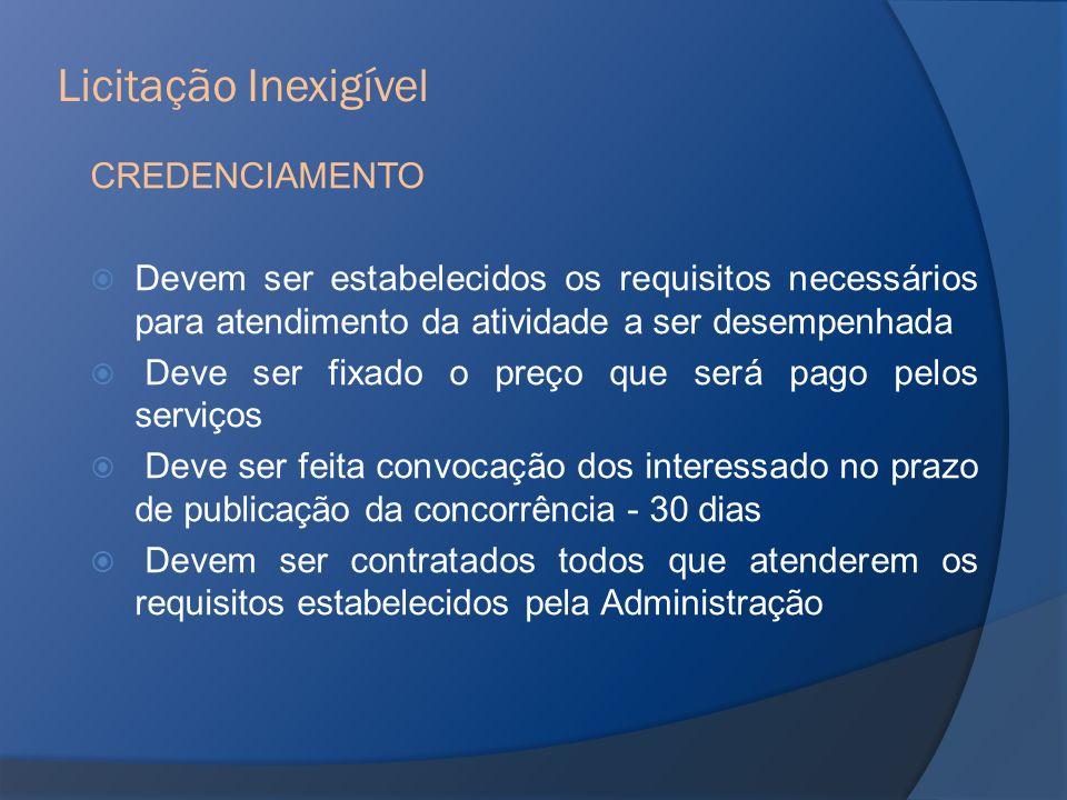CREDENCIAMENTO Devem ser estabelecidos os requisitos necessários para atendimento da atividade a ser desempenhada Deve ser fixado o preço que será pag