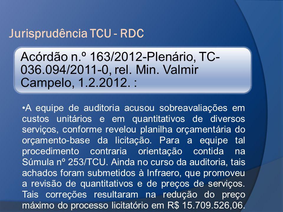 Jurisprudência TCU - RDC Acórdão n.º 163/2012-Plenário, TC- 036.094/2011-0, rel. Min. Valmir Campelo, 1.2.2012. : A equipe de auditoria acusou sobreav